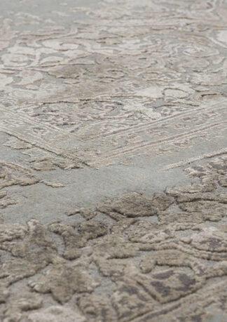 Melsvai sidabrinis vintažinis kilimas Fresco CE1309-LBLU-SIL